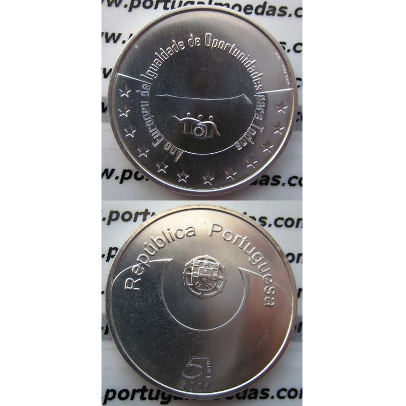 "5 EUROS PRATA 2007 ""IGUALDADE DE OPORTUNIDADES PARA TODOS "" (BELA/SOB)"