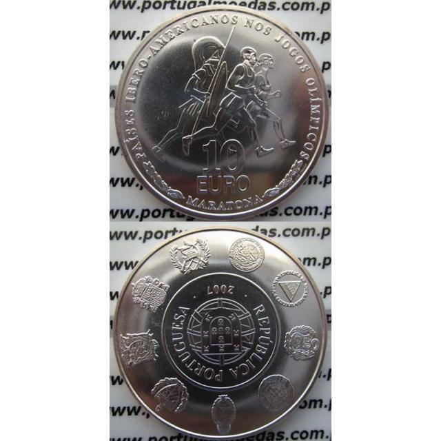 """10 EUROS PRATA 2007 """"JOGOS OLIMPICOS-A MARATONA"""" (BELA/SOB)"""