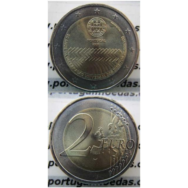 """2 EUROS BIMETÁLICA 2008 """"60ºANIVERSÁRIO DA DECLARAÇÃO DOS DIREITOS DO HOMEM """" (BELA/SOB)"""