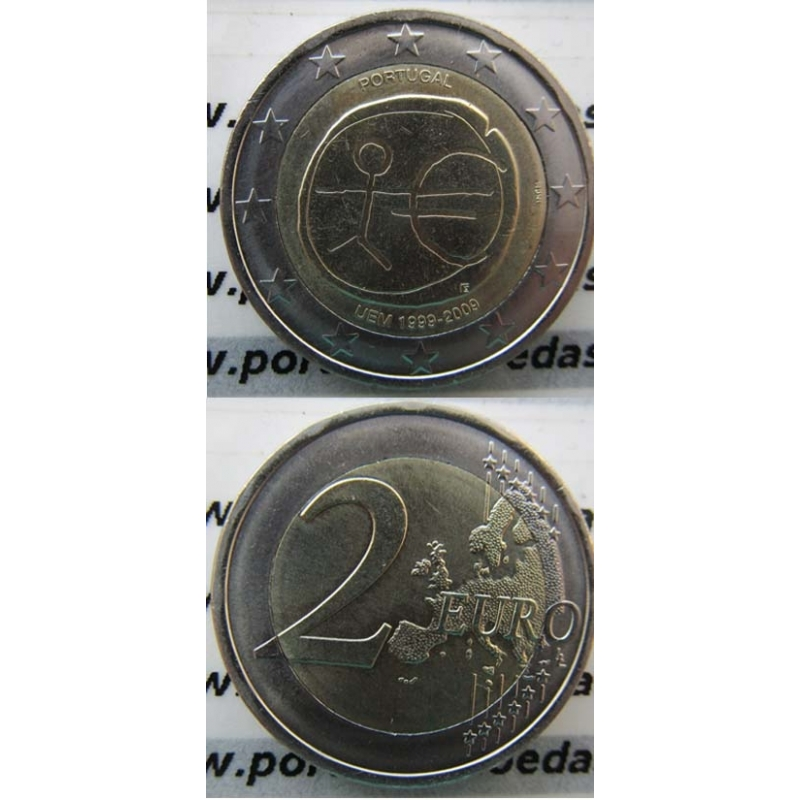 """2 EUROS BIMETÁLICA 2009 """"10ºANIVERSÁRIO DA UNIÃO EUROPEIA E MONETÁRIA (UEM) """" (BELA/SOB)"""