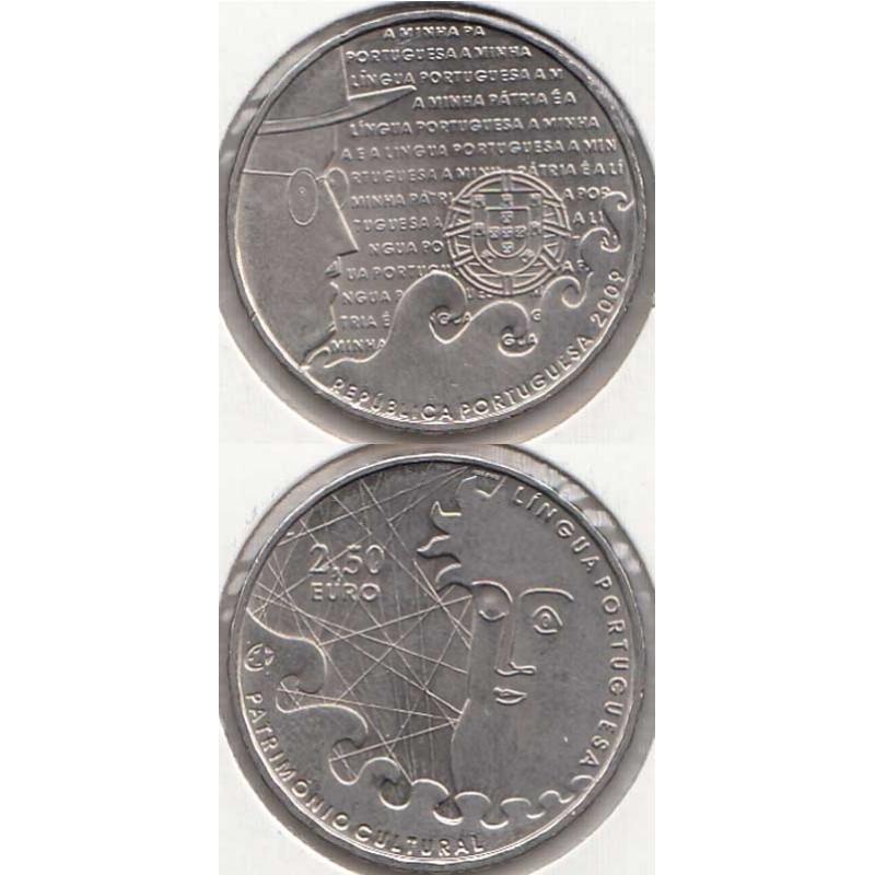 """2,50 EUROS CUPRO-NÍQUEL 2009 """"LÍNGUA PORTUGUESA"""" (BELA/SOB)"""