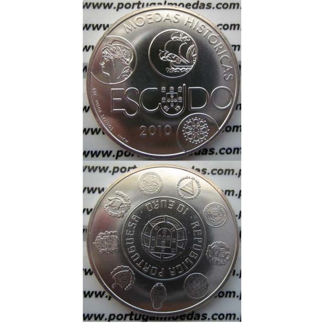 """10 EUROS PRATA 2010 """"O ESCUDO"""" (BELA/SOB)"""