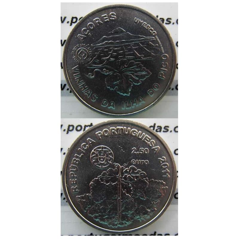 """2,50 EUROS CUPRO-NÍQUEL 2011 """"VINHA DA ILHA DO PICO """" (BELA/SOB)"""