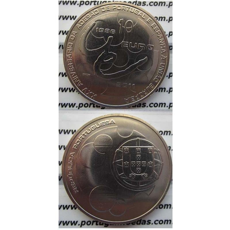 """10 EUROS CUPRO-NÍQUEL 2011 """"ADESÃO DE PORTUGAL E ESPANHA Á UNIÃO EUROPEIA"""" (BELA/SOB)"""