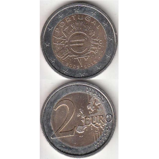 """2 EUROS BIMETÁLICA 2012 """"10ºANIVERSÁRIO DA CIRCULAÇÃO DO EURO"""" (BELA/SOB)"""