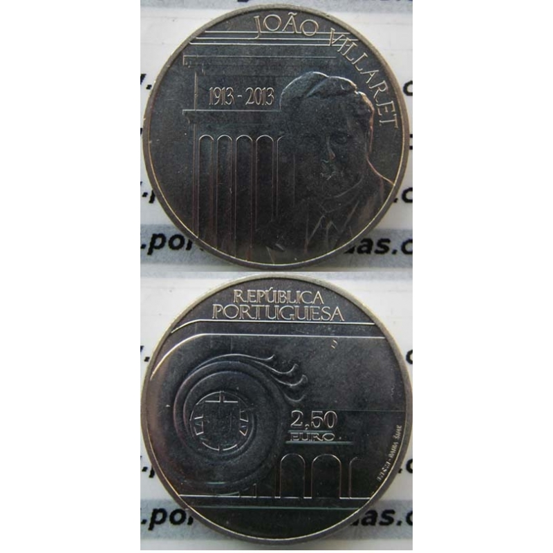 "2,50€ ""Euros"" 2013, João Villaret, Cuproniquel, (2,50 Euro 2013, World Coins Portugal  KM853)"
