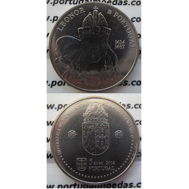 "5 EUROS CUPRO-NÍQUEL 2014 ""D.LEONOR DE PORTUGAL"" (BELA/SOB)"