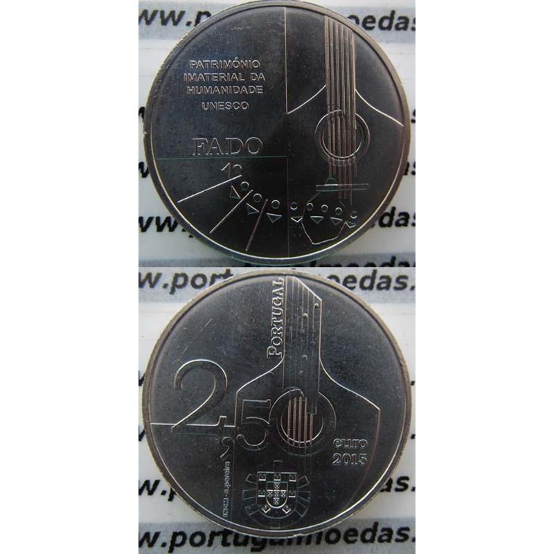 """2,50€ """"Euros"""" 2015, Fado-Património Imaterial Da Humanidade, Cuproniquel (2,50 Euro 2015, World Coins Portugal KM858)"""