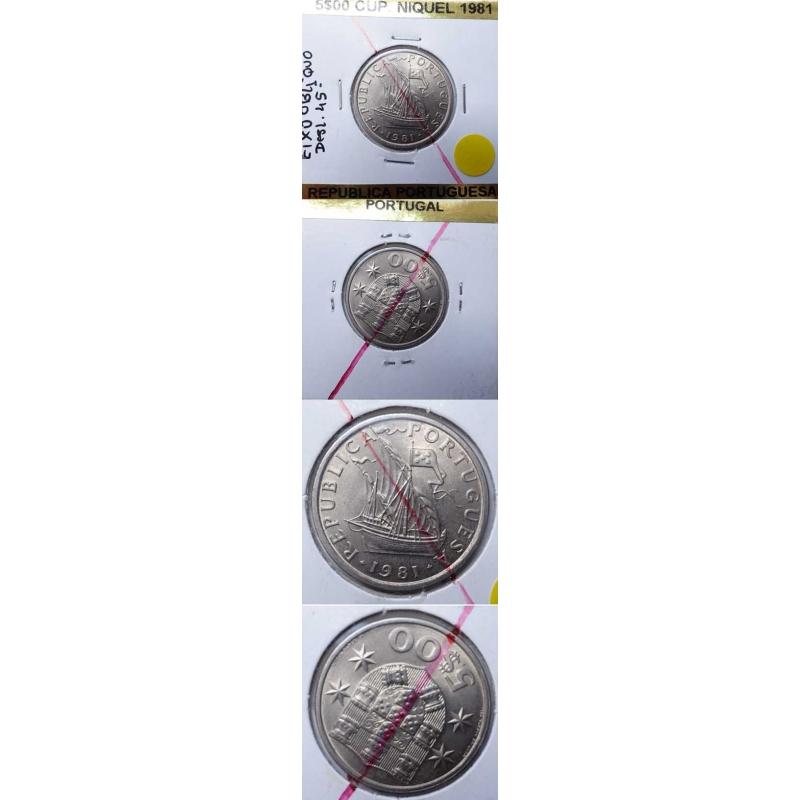5$00 CUPRO-NIQUEL 1981 EIXO DESLOCADO
