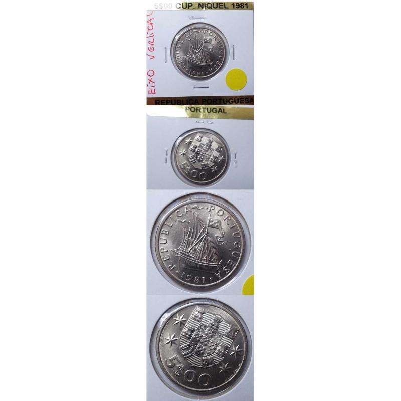5$00 CUPRO-NIQUEL 1981 EIXO QUASE VERTICAL