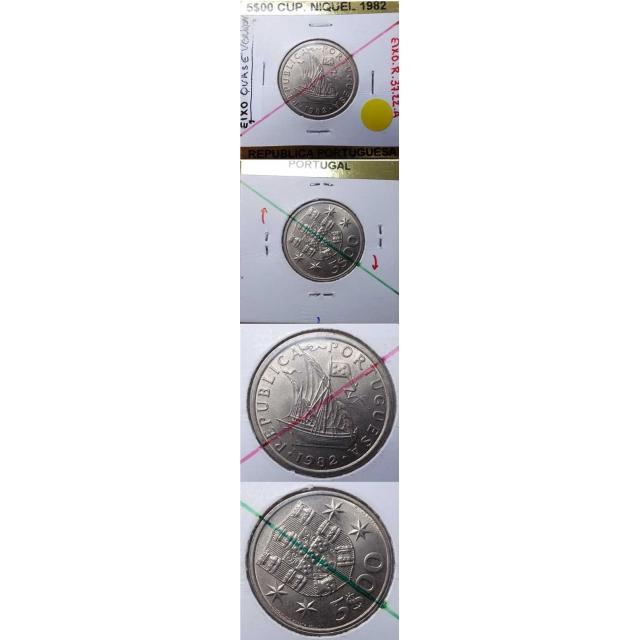 5$00 CUPRO-NIQUEL 1982 EIXO QUASE VERTICAL