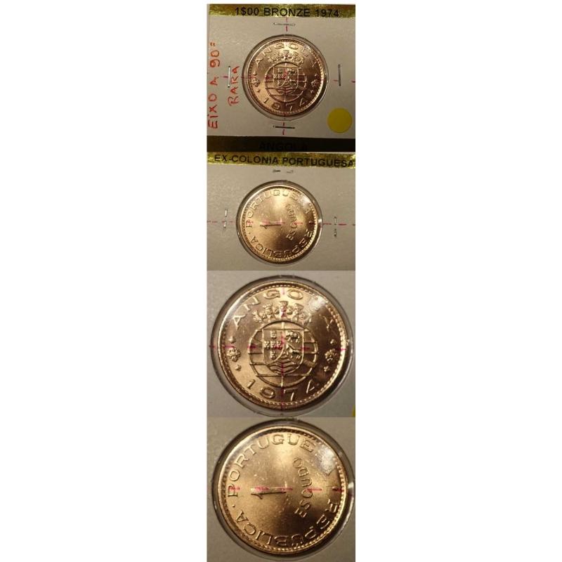 ANGOLA -1$00 BRONZE 1974 (RARA) EIXO DESLOCADO A 90º