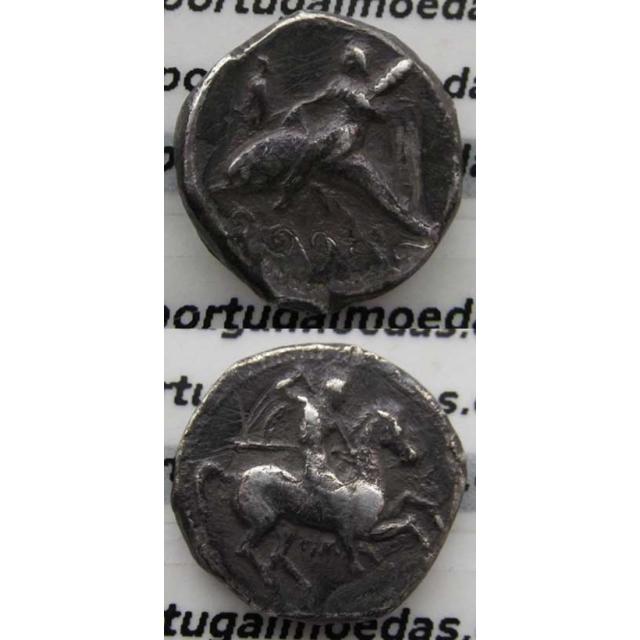 NONOS DIDRACMA PRATA (334 a.C. A 330 a.C.) CALABRIA - TARANTO ( ITÁLIA)