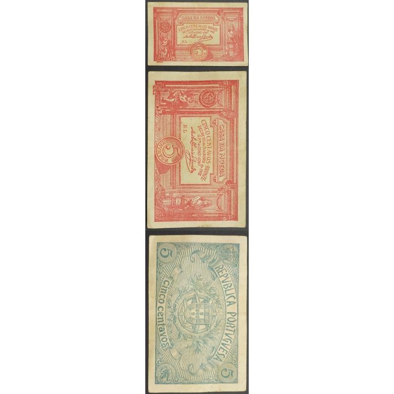 CÉDULA OFICIAL CASA DA MOEDA - 5 CENTAVOS 1918 ( POUCO CIRCULADA )
