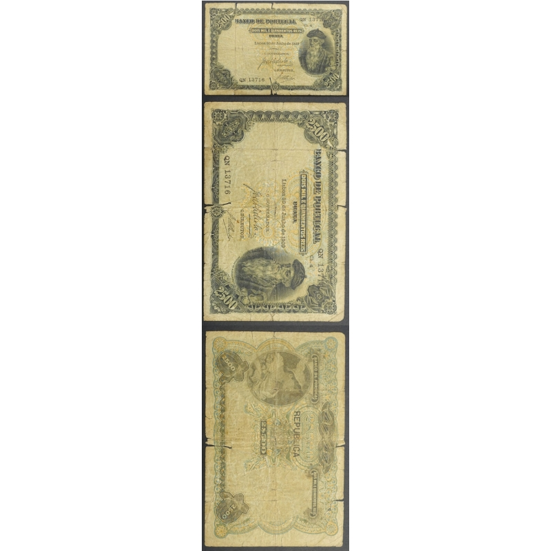 NOTA DE 2500 REIS PRATA 1909 ( CIRCULADA ) Ch.4 - C/ SOBRECARGA REPÚBLICA - BANCO DE PORTUGAL (30/06/1909)