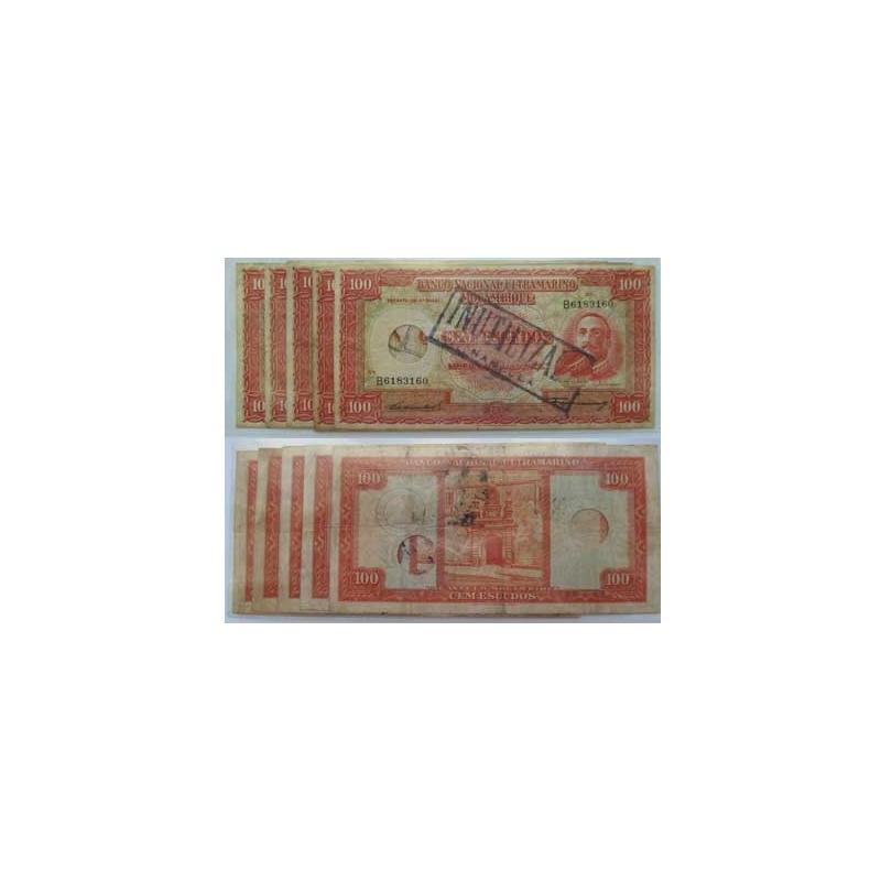 MOÇAMBIQUE - LOTE DE 5 NOTAS DE 100 ESCUDOS 1958/INUTILIZADA (CIRCULADA)