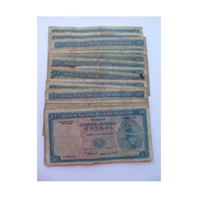 TIMOR - LOTE DE 25 NOTAS DE 50 ESCUDOS 1967 ( CIRCULADAS )