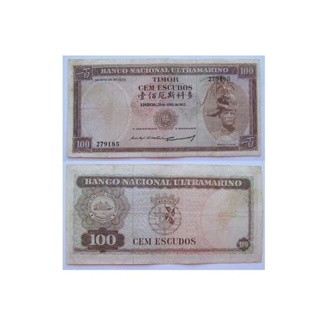 TIMOR - NOTA DE 100 ESCUDOS 1963 ( CIRCULADA )