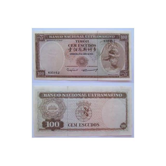 TIMOR - NOTA DE 100 ESCUDOS 1963 (NOVA C/ MANCHAS DE HUMIDADE)