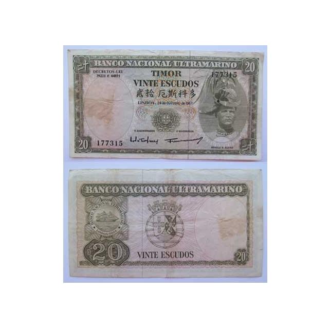 TIMOR - NOTA DE 20 ESCUDOS 1967 ( CIRCULADA )