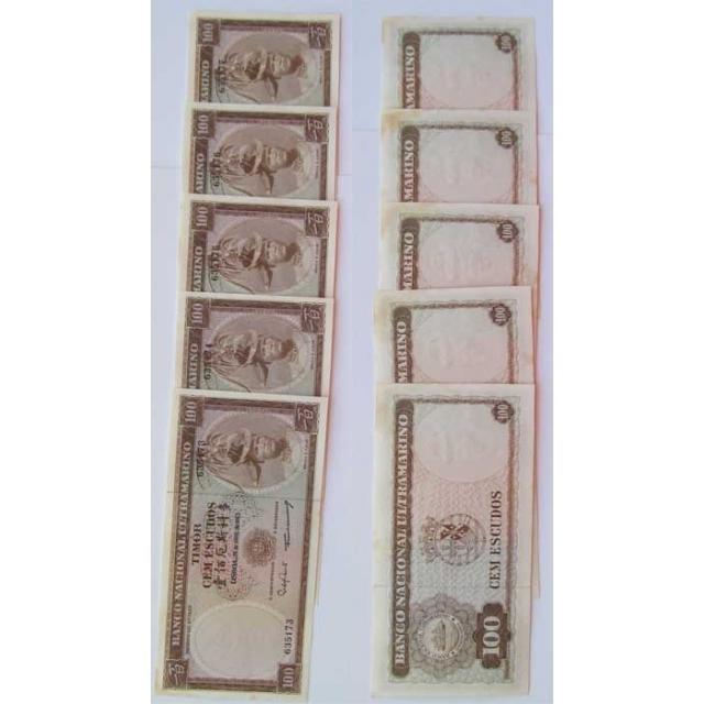 TIMOR - LOTE DE 5 NOTAS COM Nº DE SÉRIE SEGUIDO DE 100 ESCUDOS 1963 ( CIRCULADA )